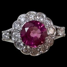 Estate Natural Pink Tourmaline & Diamond Art Deco Engagement Birthstone Halo Ring 14K