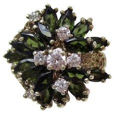1950's Estate Large Natural Green Tourmaline & Diamond Engagement Anniversary Birthstone Ring 14K