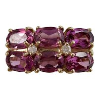 Vintage Estate Natural Rubellite & Diamond 1960's Ring 14K