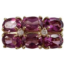 Vintage Estate Natural Rubellite & Diamond 1960's Engagement Birthstone Anniversary Ring 14K