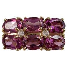 Vintage Estate Natural Rubellite & Diamond 1960's Engagement Birthstone Anniversary Ring 14K