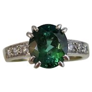 Estate Natural Tourmaline & Diamond Ring 14K