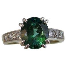 Estate Natural Tourmaline & Diamond Ring 14K