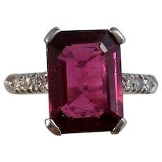 Vintage Estate Natural Rubellite & Diamond Engagement Birthstone Ring Platinum