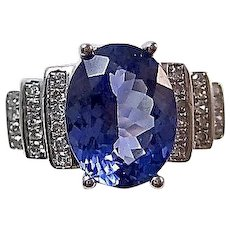 Estate Natural Tanzanite & Diamond Wedding/Birthstone/Anniversary Ring 14K