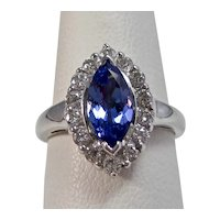 Vintage Estate Wedding Day Engagement Birthstone Tanzanite Diamond Ring 18K