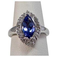 Vintage Estate Wedding Day Engagement Birthstone Tanzanite Diamond Ring 18K