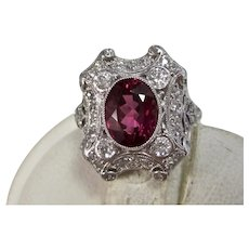 Vintage Estate Art Deco Wedding  Birthstone Tourmaline Diamond Ring 18K