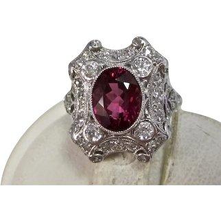 Vintage Estate Art Deco Wedding  Birthstone Tourmaline Diamond Ring 18K