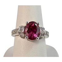 Vintage Estate Pink Tourmaline & Diamond Engagement Ring 14K