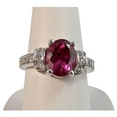 Vintage Estate Pink Tourmaline & Diamond Engagement Ring 14K