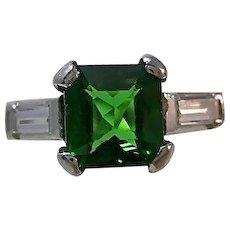 Estate Tsavorite Garnet & Diamond Engagement Anniversary Birthstone Ring Platinum