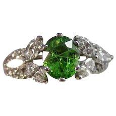 Vintage Estate Tsavorite Garnet & Diamond Ring 18K