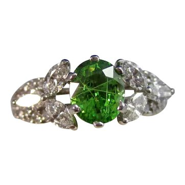 Vintage Estate Tsavorite Garnet & Diamond Ring 18K