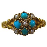Antique Victorian 1890's Engagement Birthstone Turquoise & Seed Pearl Ring 18K