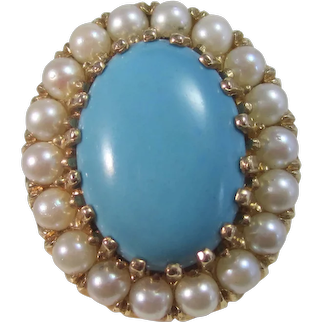 Vintage Estate 1960's Turquoise Cultured Pearl Ring 14K