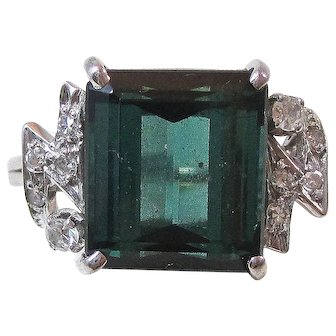 Natural Tourmaline & Diamond Estate Engagement Wedding Birthstone Ring 18K
