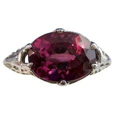 Estate Natural 1960's Pink Tourmaline Ring 14K