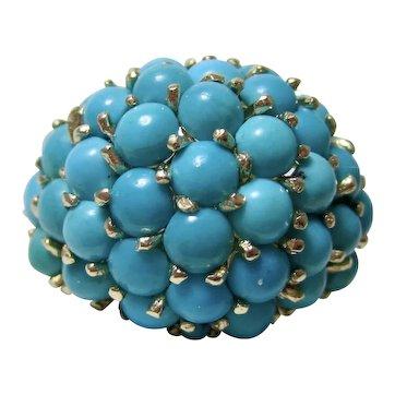 Vintage Estate 1960's Birthstone Turquoise Ring 14K