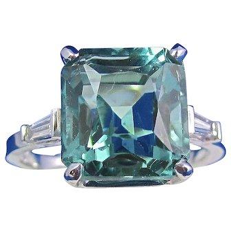 Natural Blue Green Quartz & Diamond 1950's Estate Engagement Wedding Birthstone Ring 18K
