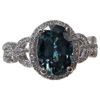 Natural Zircon & Diamond Engagement Birthstone Ring 14K