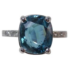 Estate Natural Blue Zircon & Diamond Engagement Wedding Birthstone Ring Platinum