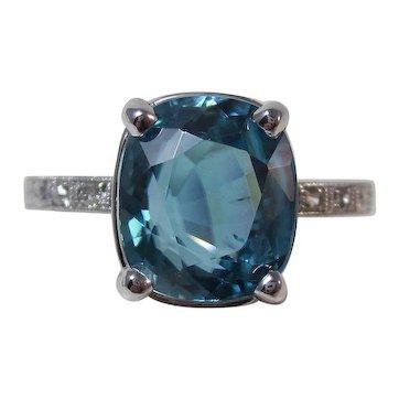 Estate Natural Blue Zircon & Diamond Engagement Ring Platinum