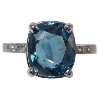 Estate Natural Blue Zircon & Diamond Engagement Wedding Birthstone Ring Platinum