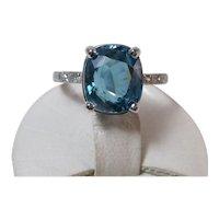 Estate Natural Blue Zircon & Diamond Ring Platinum