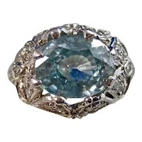 Vintage Estate 1950's Natural Zircon Diamond Engagement Birthstone Ring 18K