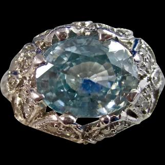 Vintage Estate 1950's Natural Zircon Diamond Engagement Birthstone Ring 18K