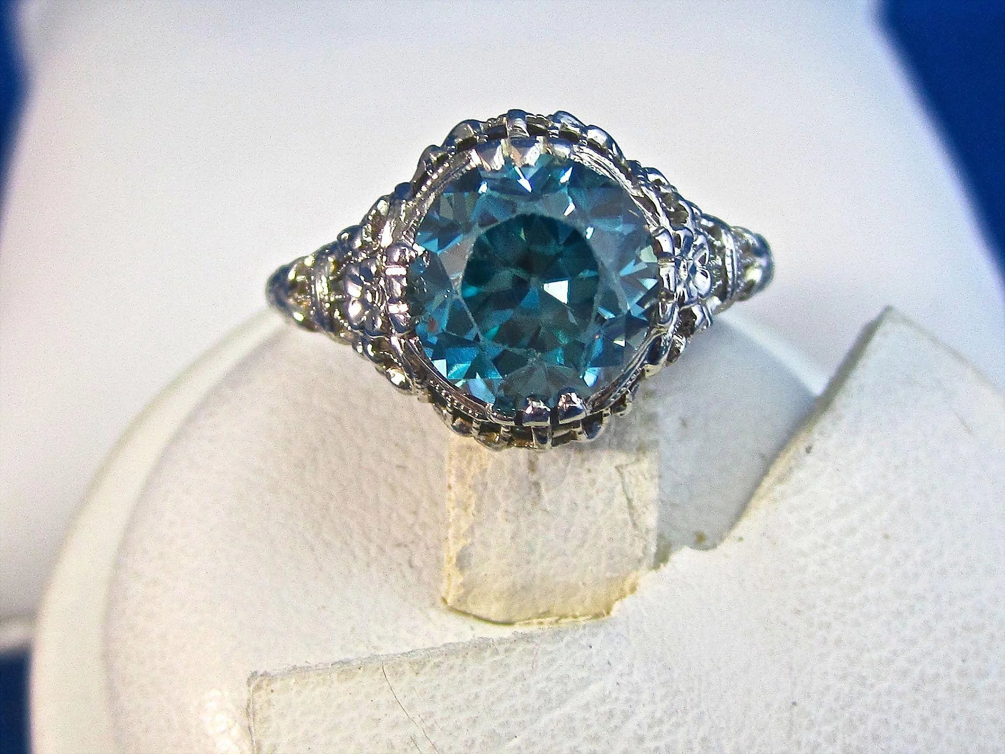 Vintage Estate 1920's Natural Zircon Engagement Ring 18K ...