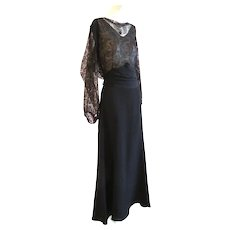 REDUCED 1930s Dress Gold Lame Lace Crepe