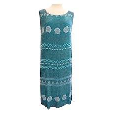 Vtg 1920s Heavily Glass Beaded Flapper Dress Beautiful Teal Color