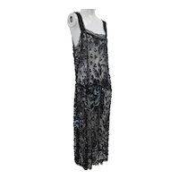 1920S Art Deco French Net Dress Covered in Blue/Black Sequins Flower Design