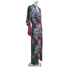 1940s Silk Rayon KAMEHAMEHA Label Hawaiian Long Dress Long Sleeves Fabulous Print