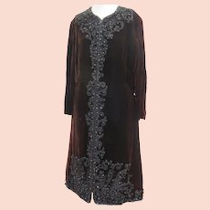 Vintage 1970s Designer Oscar De La Renta Evening Coat Dress Embroidered and Beaded
