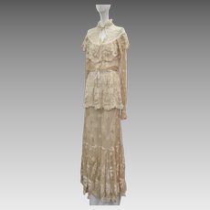 1930s Floor Length Gown French Net Heavily Embroidered With Flowers & Leaves