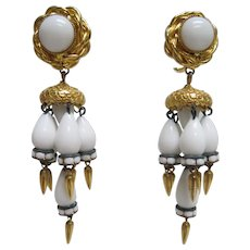 Vintage 1970s William De Lillo Designer Chandelier Earrings White Glass Gold Tone Fittings & Drops Clips
