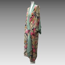 1920s Art Deco Flapper Brilliant Colored Pane Silk Velvet & Silk Chiffon Wrapper Coat