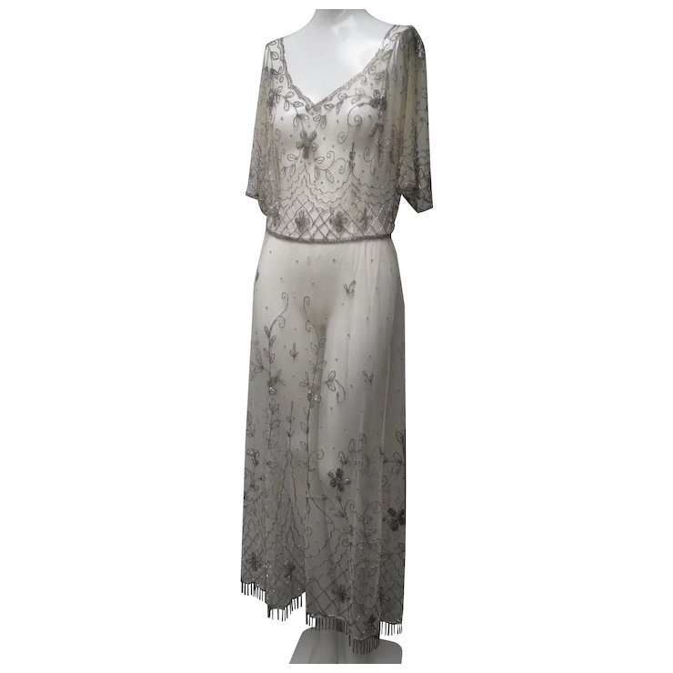 Ca 1910 Edwardian French Net Evening Gown Silver Glass Beadwork SOLD ...