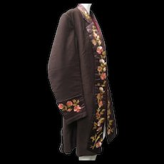 Ca 1880 Victorian Gentleman's Smoking Jacket Exquisitely Silk Stitch Embroidered