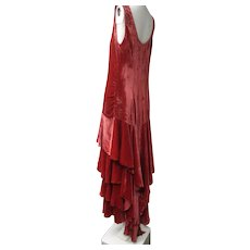 RESERVED     Rare Rose Color Art Deco 1930s Pane Silk Velvet Tiered Ruffles Long Gown