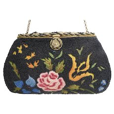 "1920s Glass Beaded & Tambour Embroidered Clutch Purse From Paris By: ""Altman et Fils"""