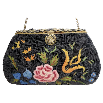 """1920s Glass Beaded & Tambour Embroidered Clutch Purse From Paris By: """"Altman et Fils"""""""