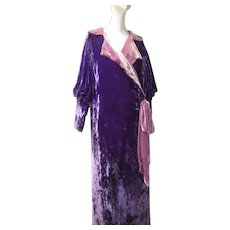Art Deco 1920s Rare Colored French Pane Silk Velvet Evening Coat