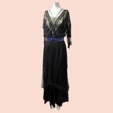 Ca 1900 Edwardian Dress Glass Beads French Net Mourning Evening Wear