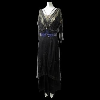 Ca 1900 Edwardian Dress Glass Beads French Net Mourning Evening Wear
