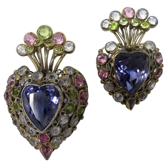 Hobe Jeweled Filigree Wirework Heart Brooches Pastel Colors