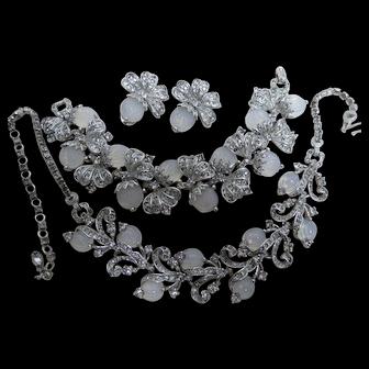 1950s Pennino Parure Melon Moonstone Glass & Clear Rhinestones Necklace Bracelet Earrings